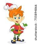 cute cartoon little boy santa... | Shutterstock .eps vector #755894866