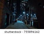 chicago city vintage river... | Shutterstock . vector #755896162
