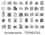 building and estate icons set... | Shutterstock .eps vector #755902762