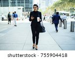 young confident businesswoman... | Shutterstock . vector #755904418