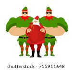 santa claus and elves... | Shutterstock .eps vector #755911648