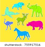 colorful wild animals stickers...   Shutterstock .eps vector #755917516