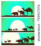 wild mammals silhouettes in
