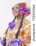 woman dress colorful pollera of ... | Shutterstock . vector #755923366