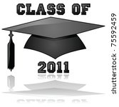 Glossy vector illustration of a hat and the words Class of 2011, reflected on a clear background - stock vector