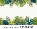 exotic tropical jungle...   Shutterstock .eps vector #755924632