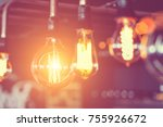 row of glowing electric light... | Shutterstock . vector #755926672