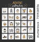 happy christmas advent calendar ... | Shutterstock .eps vector #755928556