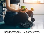 asian woman exercising in the... | Shutterstock . vector #755929996