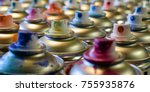 spray paint cans  close up side ... | Shutterstock . vector #755935876
