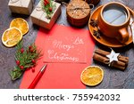 christmas holidays composition... | Shutterstock . vector #755942032