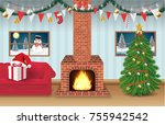 night christmas party room... | Shutterstock .eps vector #755942542