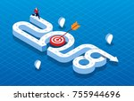 isometric 2018 and target | Shutterstock .eps vector #755944696