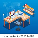 isometric work table and data... | Shutterstock .eps vector #755944702