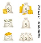 three bags of money  10eps | Shutterstock .eps vector #75595102