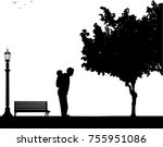 father carrying a child... | Shutterstock .eps vector #755951086