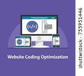seo website coding optimization | Shutterstock .eps vector #755951446