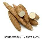 fresh cassava isolated on a... | Shutterstock . vector #755951698