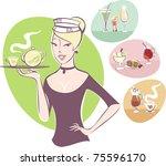 waitress serving a pot of tea | Shutterstock .eps vector #75596170