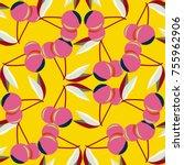 cute cherry seamless pattern.... | Shutterstock .eps vector #755962906