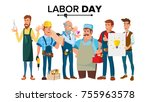 labor day vector. a group of... | Shutterstock .eps vector #755963578