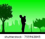 father carrying a child... | Shutterstock .eps vector #755963845