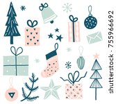 merry christmas set with... | Shutterstock .eps vector #755966692