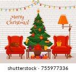 christmas room interior in... | Shutterstock .eps vector #755977336