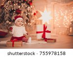 cute baby holding christmas... | Shutterstock . vector #755978158