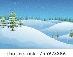 vector illustration of winter...   Shutterstock .eps vector #755978386