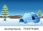 vector illustration of igloo... | Shutterstock .eps vector #755979385