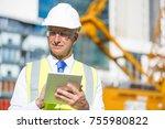 senior engineer man in suit and ... | Shutterstock . vector #755980822