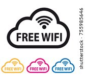 free wifi cloud icon   colorful ... | Shutterstock .eps vector #755985646