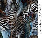 cool zebra texture over color... | Shutterstock . vector #755986876