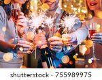 friends celebrating christmas... | Shutterstock . vector #755989975