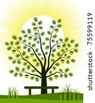 vector oak tree and bench | Shutterstock .eps vector #75599119