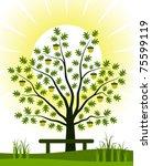 vector oak tree and bench | Shutterstock .eps vector #75599119