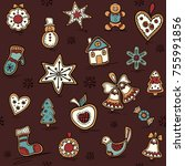 christmas seamless pattern with ... | Shutterstock .eps vector #755991856