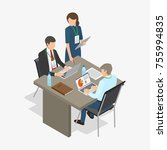 three workers  two men sit at...   Shutterstock . vector #755994835