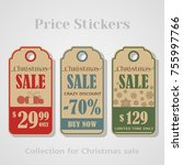 christmas sale tags  stickers ...   Shutterstock .eps vector #755997766