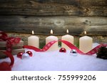 christmas background with snow  ... | Shutterstock . vector #755999206