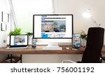3d rendering of computer ... | Shutterstock . vector #756001192