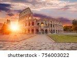 colosseum amphitheater in rome | Shutterstock . vector #756003022