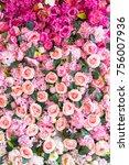 Stock photo beautiful flowers background for wedding scene 756007936