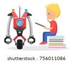 little blond boy sit on pile of ... | Shutterstock .eps vector #756011086