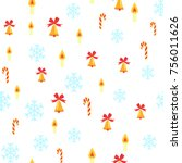 seamless pattern with jingle... | Shutterstock .eps vector #756011626
