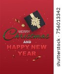 merry christmas and happy new... | Shutterstock .eps vector #756013342