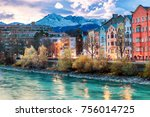 Innsbruck embankment with beauty houses at the Inn river. Innsbruck is the capital city of Tyrol in western Austria.