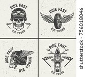 set of biker emblems. racer... | Shutterstock .eps vector #756018046