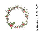 wreath from black branches and... | Shutterstock .eps vector #756018052